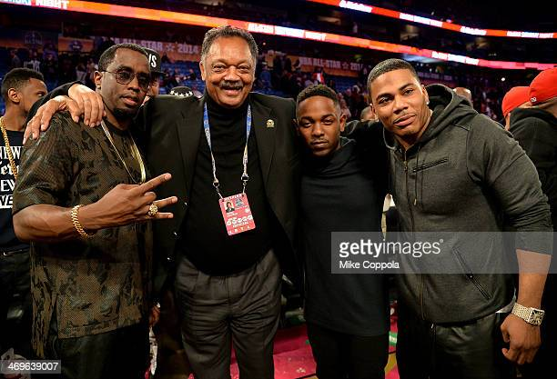 Sean Combs Reverend Jesse Jackson Kendrick Lamar and Nelly attend the State Farm AllStar Saturday Night during the NBA AllStar Weekend 2014 at The...
