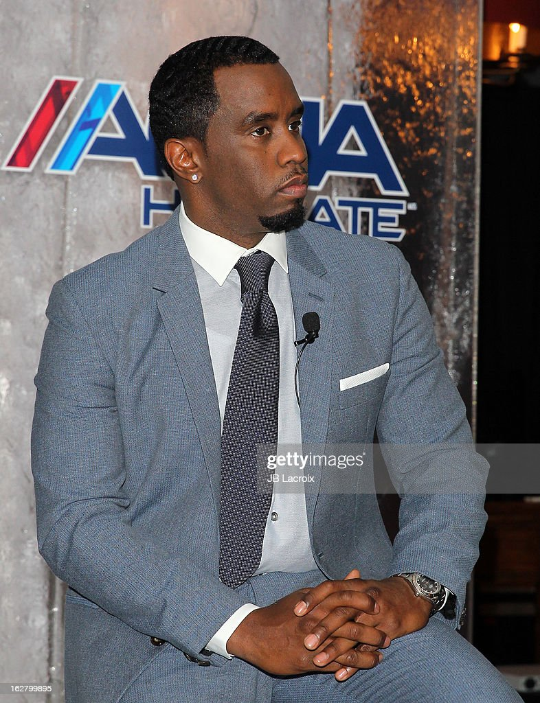 Sean Combs speaks onstage while hosting a press conference to announce their newest venture, Water Brand AQUAhydrate on February 27, 2013 in Los Angeles, California.