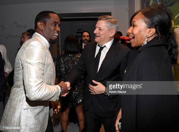 Sean Combs, Ted Sarandos, and Nicole Avant attend Sean Combs 50th Birthday Bash presented by Ciroc Vodka on December 14, 2019 in Los Angeles,...