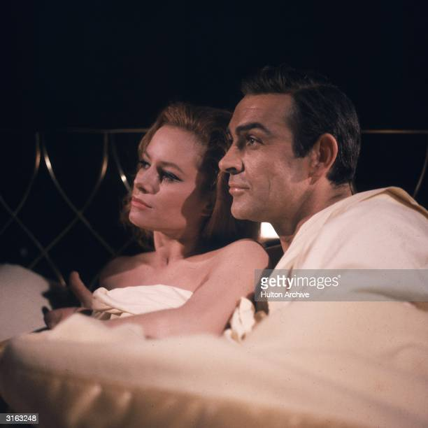 Sean Connery and Luciana Paluzzi in a scene from a James Bond film, 'Thunderball'.