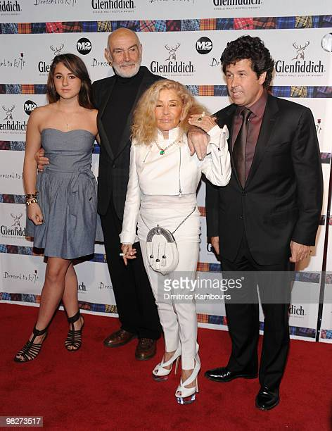Sean Connery and Micheline Connery pose with guests at the 8th annual Dressed To Kilt Charity Fashion Show at M2 Ultra Lounge on April 5 2010 in New...