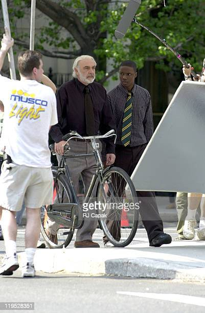 Sean Connery and Rob Brown during Finding Forrester Movie Set at Park Avenue and 69th Street in New York City New York United States