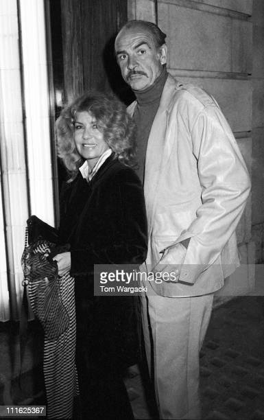 Sean Connery and wife Micheline during Sean Connery and wife Micheline Sighting at Langan's Brasserie April 1988 at Langan's Brasserie in London...