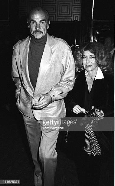Sean Connery and wife Micheline during Sean Connery and wife Micheline Sighting at Langan's Brasserie - April 1988 at Langan's Brasserie in London,...