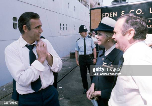 Sean Connery as James Bond during the filming of Diamonds Are Forever at Southampton Docks in Southampton, England circa 1971.