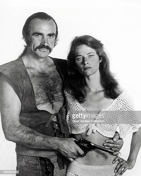 Sean Connery as Zed and Charlotte Rampling as Consuella in a promotional portrait for 'Zardoz' directed by John Boorman 1974
