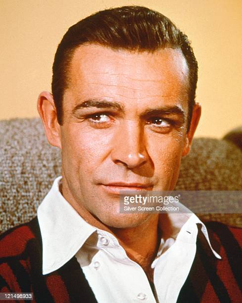 Sean Connery British actor wearing a redandblack jumper and a white shirt circa 1960