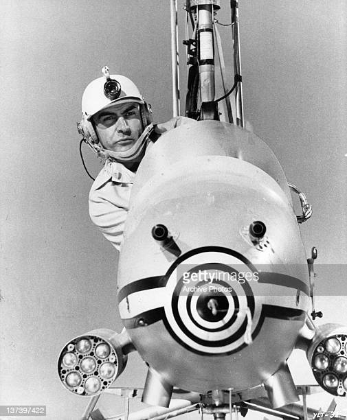Sean Connery flying the autogyro Little Nellie in a scene from the film 'You Only Live Twice' 1967