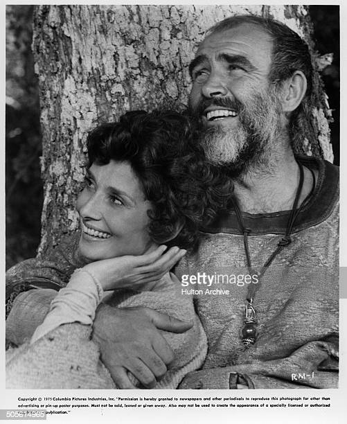 Sean Connery hugs Audrey Hepburn in a scene in the Columbia Pictures movie 'Robin and Marian' circa 1976