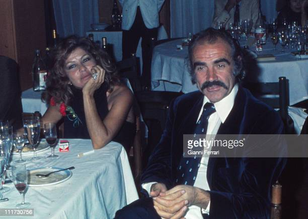 Sean Connery in the restaurant of the golf of 'La Manga del Mar Menor' with his wife Micheline Roquebrune Murcia Spain
