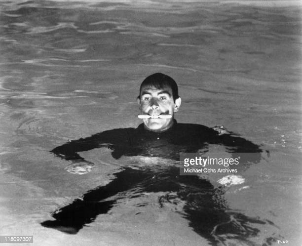 Sean Connery in the water in a scene from the film 'Thunderball' 1965