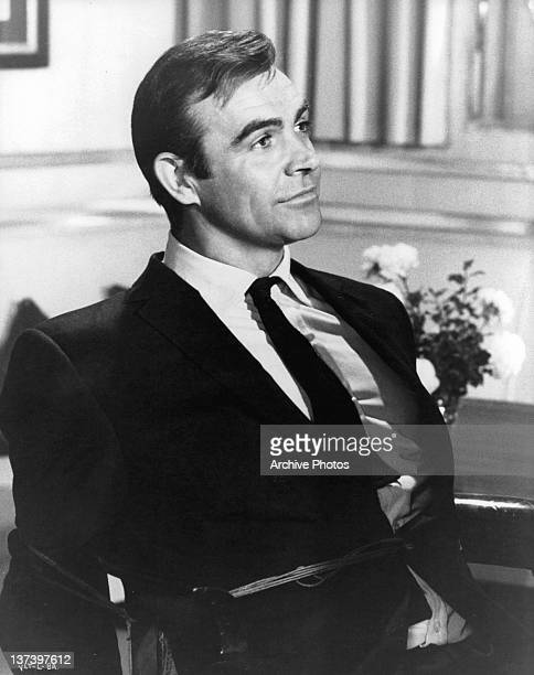Sean Connery tied to a chair in a scene from the film 'You Only Live Twice' 1967