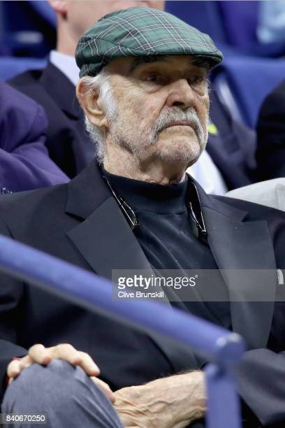 Sean Connery watches Madison Keys play Elise Mertens of Belgium on Day Two of the 2017 US Open at the USTA Billie Jean King National Tennis Center on...