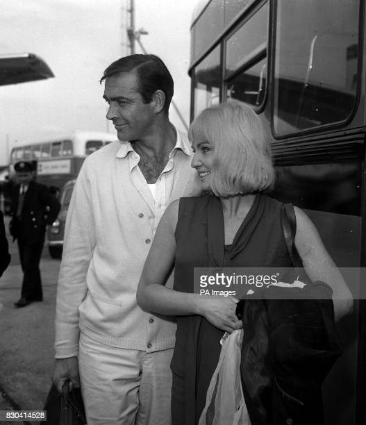 Sean Connery with his actress wife Diane Cilento arrive at London Airport after flying from Istanbul where Mr Connery has been filming 'James Bond...