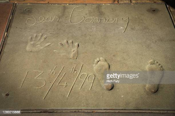 Sean Connery's handprints and footprints from a 1999 ceremony are displayed at the TCL Chinese Theatre on October 31, 2020 in Hollywood, California....