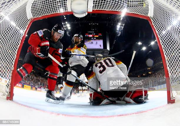 Sean Couturier of Canada fails to score over Philipp Grubauer goaltender of Germany during the 2017 IIHF Ice Hockey World Championship quarter final...