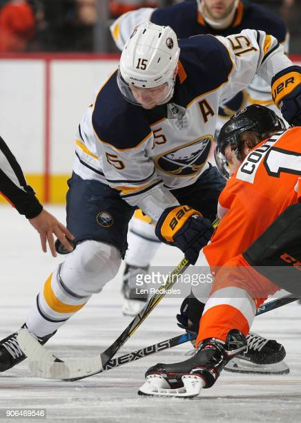 Sean Couturier of the Philadelphia Flyers and Jack Eichel of the Buffalo Sabres keep their eye on the puck during a faceoff on January 7 2018 at the...