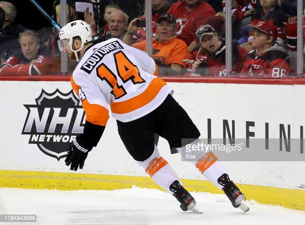 Sean Couturier of the Philadelphia Flyers celebrates his goal in the shootout against the New Jersey Devils at Prudential Center on November 01, 2019...