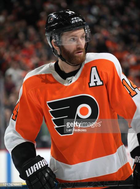 Sean Couturier of the Philadelphia Flyers looks on against the Buffalo Sabres on March 7, 2020 at the Wells Fargo Center in Philadelphia,...
