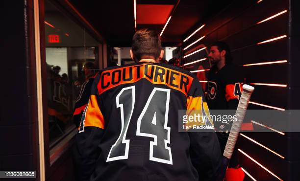Sean Couturier of the Philadelphia Flyers prepares to enter the ice surface for warmups prior to his game against the Florida Panthers at the Wells...