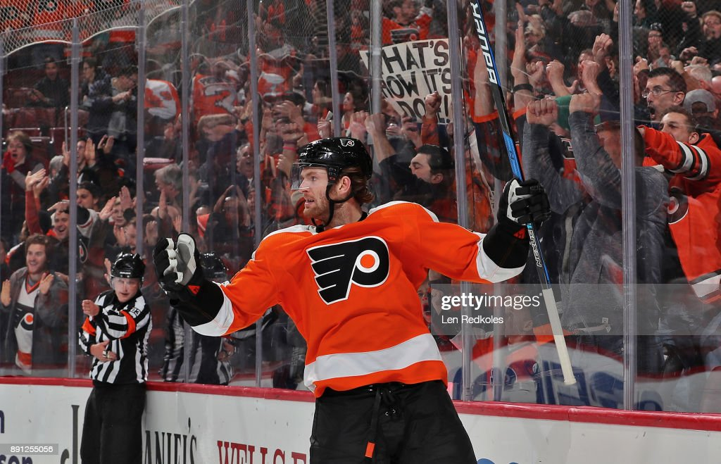Sean Couturier #14 of the Philadelphia Flyers reacts after scoring the game-winning goal in the third period against the Toronto Maple Leafs on December 12, 2017 at the Wells Fargo Center in Philadelphia, Pennsylvania. The Flyers went on to defeat the Maple Leafs 4-2.