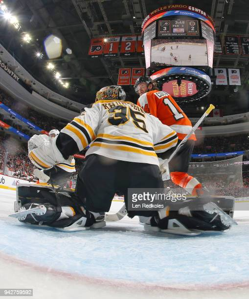 Sean Couturier of the Philadelphia Flyers reacts to the play in the corner against Anton Khudobin of the Boston Bruins on April 1 2018 at the Wells...