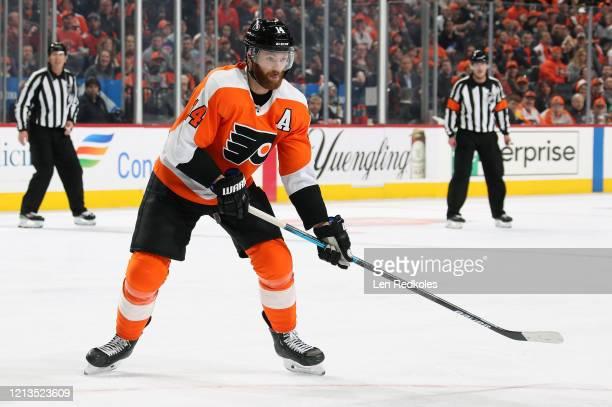 Sean Couturier of the Philadelphia Flyers skates against the Boston Bruins on March 10 2020 at the Wells Fargo Center in Philadelphia Pennsylvania
