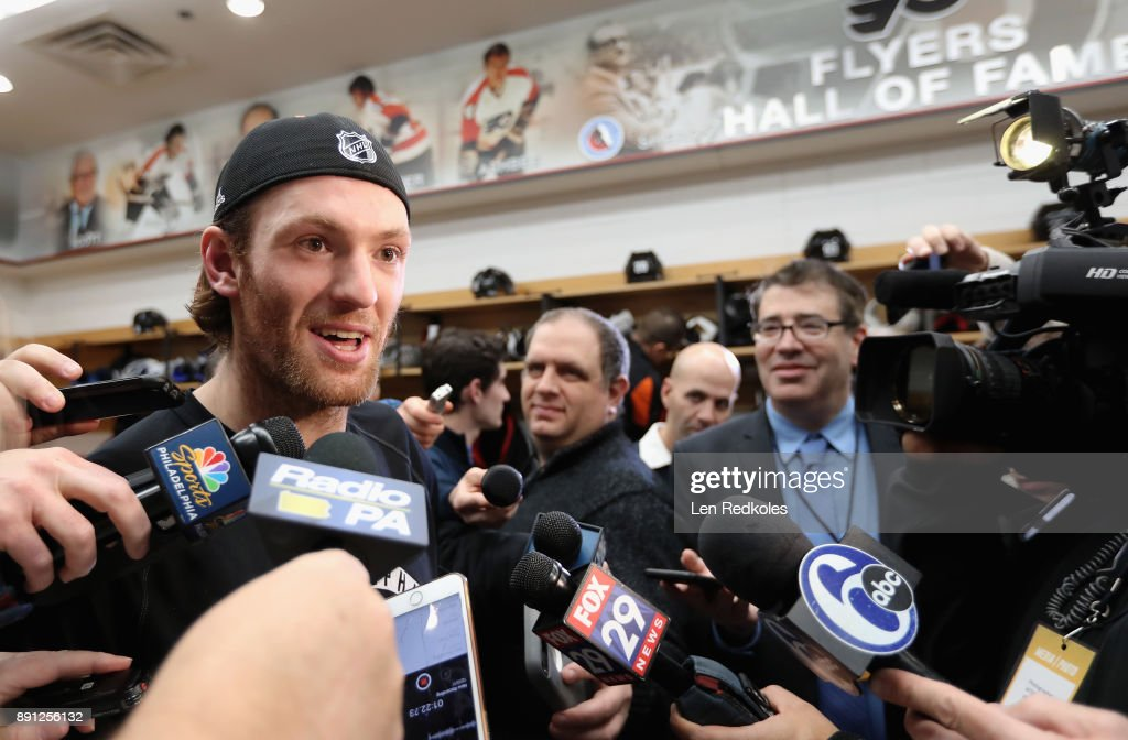 Sean Couturier #14 of the Philadelphia Flyers speaks to the media after defeating the Toronto Maple Leafs 4-2 on December 12, 2017 at the Wells Fargo Center in Philadelphia, Pennsylvania.