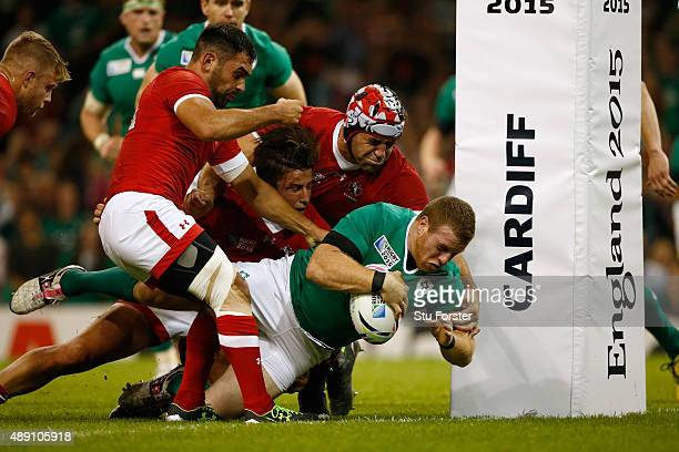 Sean Cronin of Ireland scores the fifth try of the game during the 2015 Rugby World Cup Pool D match between Ireland and Canada at the Millennium...