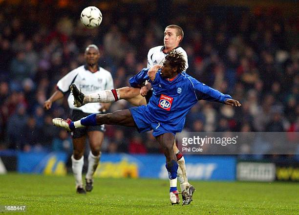 Sean Davis of Fulham battles with Aliou Cisse of Birmingham City during the FA Barclaycard Premiership match between Fulham and Birmingham City at...