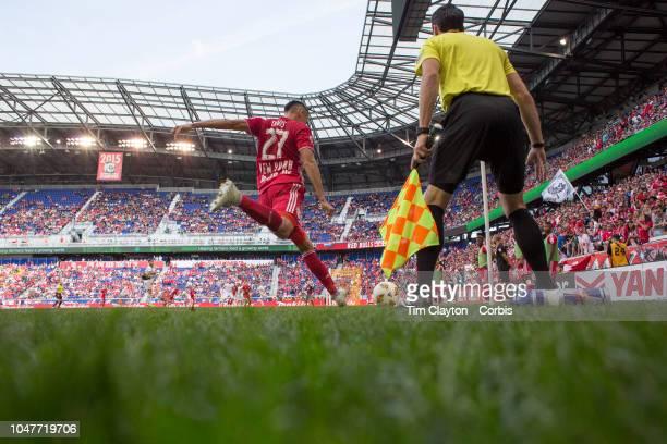 Sean Davis of New York Red Bulls takes a corner during the New York Red Bulls Vs Atlanta United FC MLS regular season game at Red Bull Arena on...