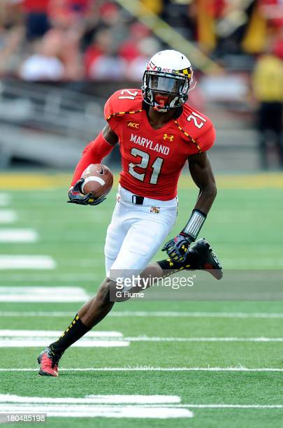 Sean Davis of the Maryland Terrapins returns an interception against the Old Dominion Monarchs at Byrd Stadium on September 7 2013 in College Park...