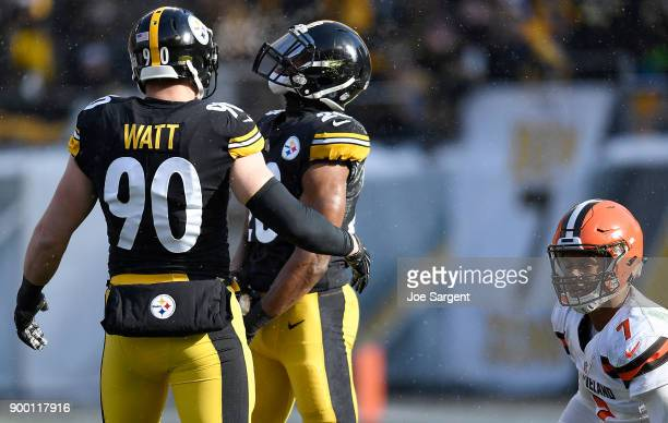 Sean Davis of the Pittsburgh Steelers celebrates with TJ Watt after sack of DeShone Kizer of the Cleveland Browns in the first half during the game...
