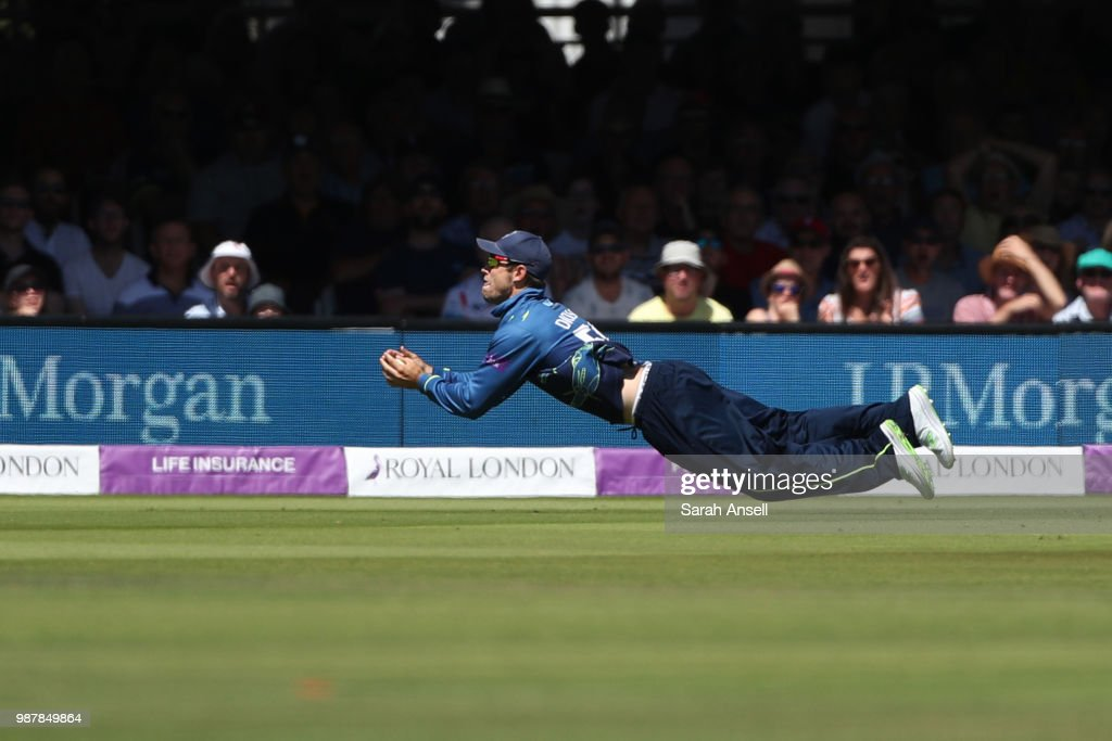 Sean Dickson of Kent takes a stunning diving catch to dismiss Lewis McManus of Hampshire during the Royal London One-Day Cup Final match between Kent and Hampshire on June 30, 2018 in London, England. (Photo by Sarah Ansell/Getty Images).