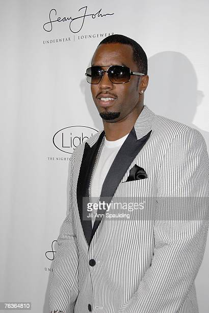 Sean Diddy Combes arrives at Sean John Underwear and Loungewear Kick Off Event at Light Nightclub on August 27 2007 in Las Vegas Nevada