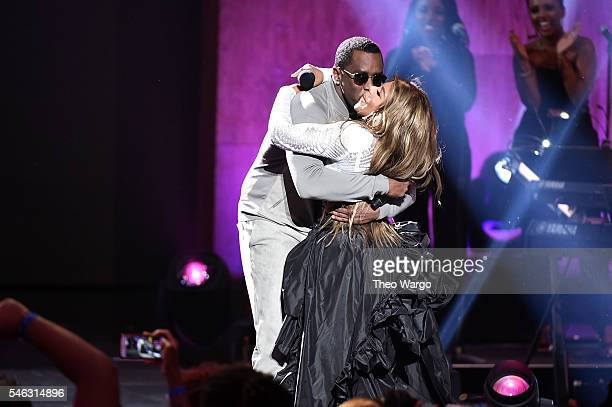 Sean 'Diddy' Combs aka Puff Daddy and Lil Kim hug onstage during the VH1 Hip Hop Honors All Hail The Queens at David Geffen Hall on July 11 2016 in...