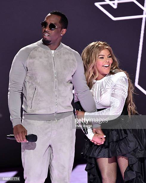 Sean Diddy Combs aka Puff Daddy and Lil Kim speak onstage during the VH1 Hip Hop Honors All Hail The Queens at David Geffen Hall on July 11 2016 in...