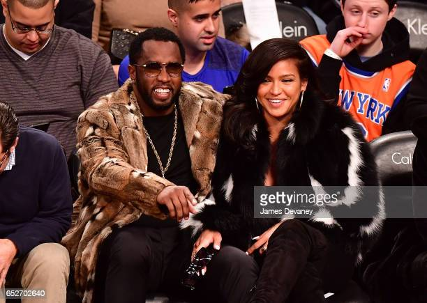 Sean 'Diddy' Combs and Cassie Ventura attend New York Knicks Vs Brooklyn Nets game at Barclays Center on March 12 2017 in New York City