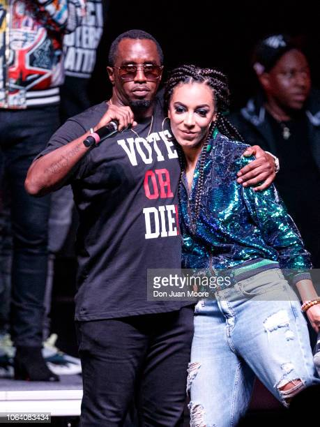 Sean 'Diddy' Combs and CNN Political Commentator Angela Rye on stage together during the 'Bring It Home Midnight Rally' at Lawson Center on the...