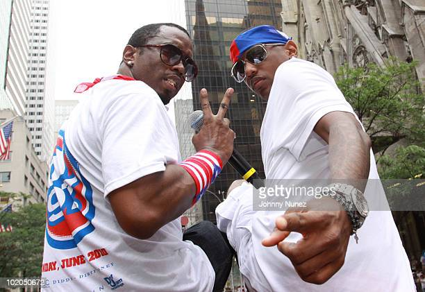 Sean Diddy Combs and Fabolous attend the 53rd annual Puerto Rican Day Parade on June 13 2010 in New York City
