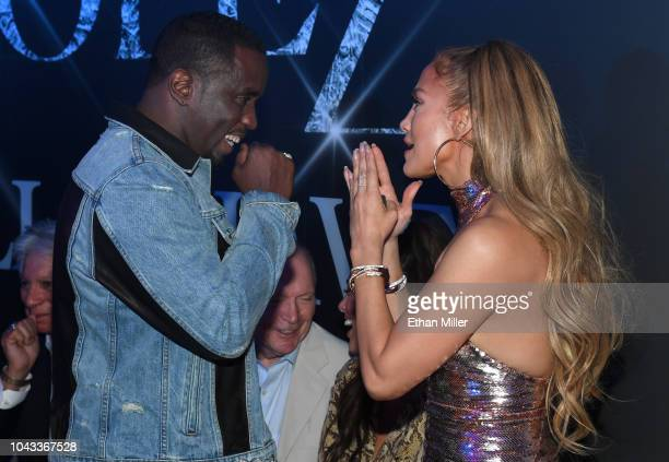 Sean Diddy Combs and Jennifer Lopez attend the after party for the finale of the JENNIFER LOPEZ ALL I HAVE residency at MR CHOW at Caesars Palace on...