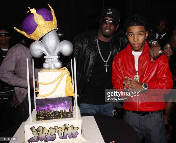 "Sean ""Diddy"" Combs and Justin Dior Combs attend Justin Dior Comb's 16th birthday party at M2 Ultra Lounge on January 23, 2010 in New York City."