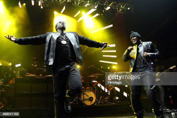 Sean Diddy Combs and Mase perform at the Beats Music Launch Party at Belasco Theatre on January 24 2014 in Los Angeles California
