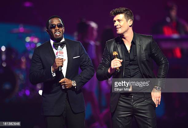 Sean 'Diddy' Combs and Robin Thicke perform onstage during the iHeartRadio Music Festival at the MGM Grand Garden Arena on September 20, 2013 in Las...