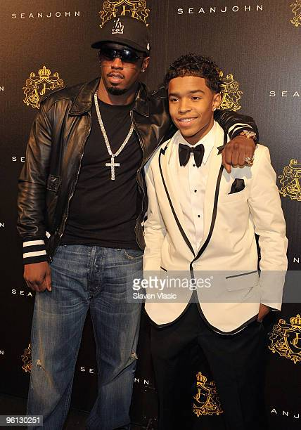 Sean Diddy Combs and son Justin Dior Combs attend Justin Dior Combs' 16th birthday party at M2 Ultra Lounge on January 23 2010 in New York City