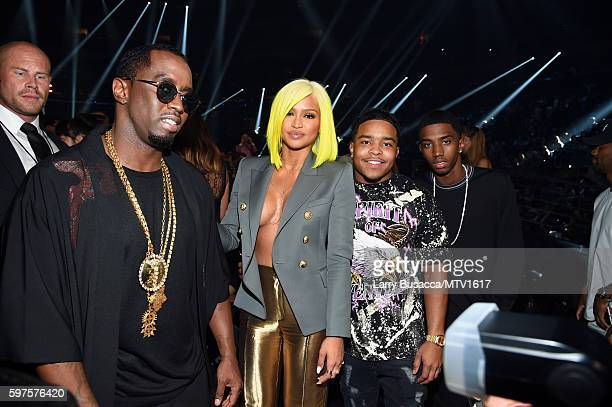 Sean Diddy Combs Cassie Justin and Christian Combs backsstage during the 2016 MTV Video Music Awards at Madison Square Garden on August 28 2016 in...