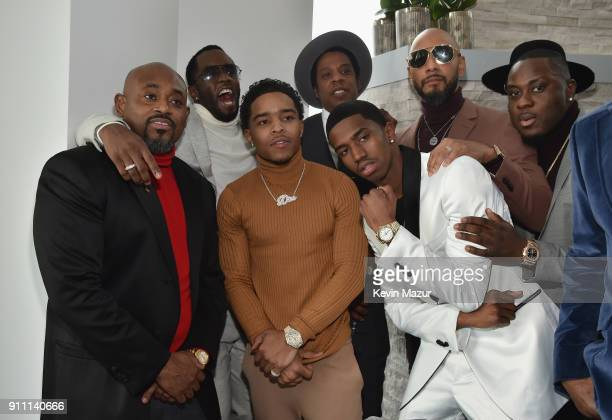 Sean 'Diddy' Combs Justin Dior Combs JayZ Christian Casey Combs and Swizz Beatz attend Roc Nation THE BRUNCH at One World Observatory on January 27...