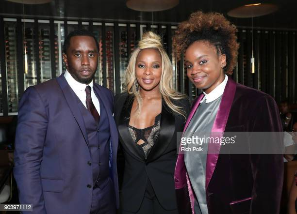 Sean 'Diddy' Combs Mary J Blige and Dee Rees attend the ceremony honoring Mary J Blige with a Star on The Hollywood Walk of Fame on on January 11...
