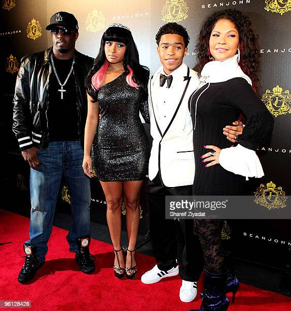 Sean Diddy Combs Nicki Minaj Justin Combs and Misa Hylton attend Justin Dior Comb's 16th birthday party at M2 Ultra Lounge on January 23 2010 in New...