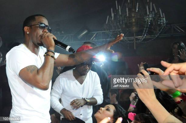ACCESS* Sean Diddy Combs performs during the Hot Tub Time Machine bluray DVD launch party at Kandyland V at the Playboy Mansion on June 26 2010 in...